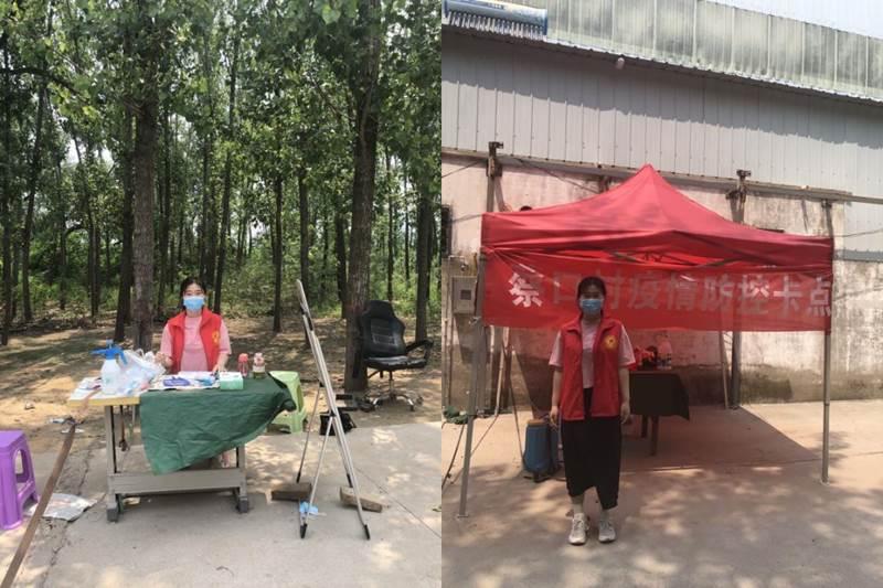 蔡畅同学在村防疫点排查往来人员